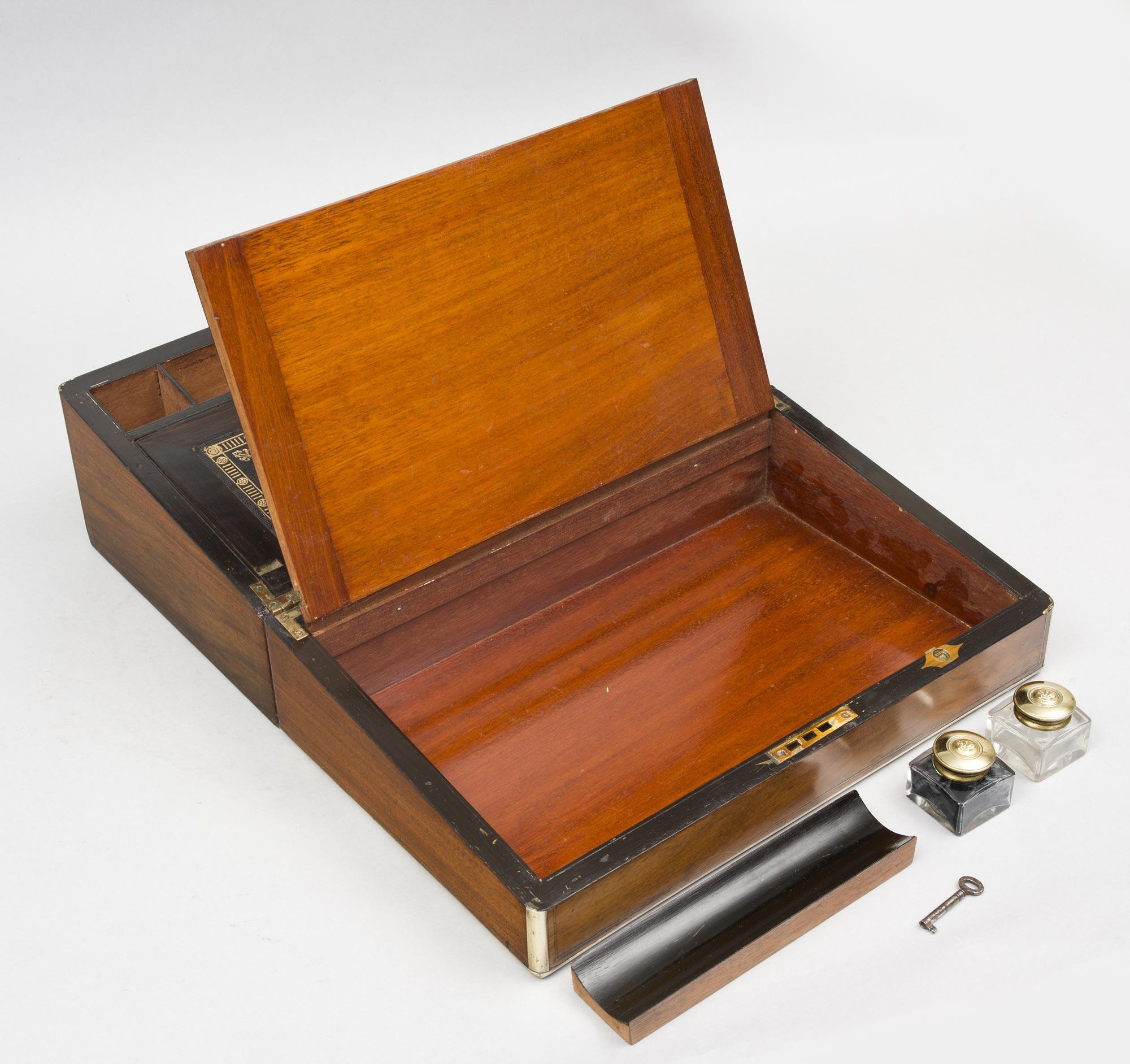 Antique English Walnut Writing Slope Circa 1860