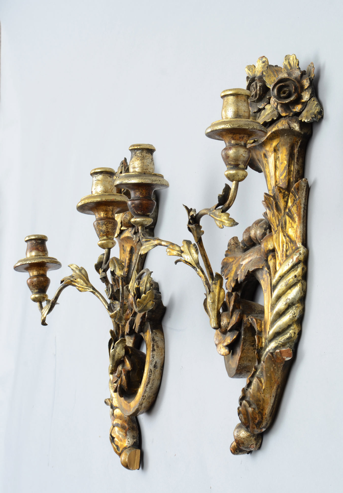 Pair of Italian Antique Gilded Wall Sconces, 19th Century