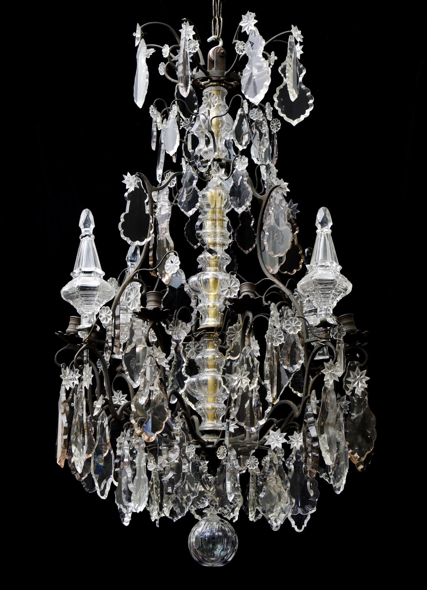French Louis XV Crystal and Bronze Antique Chandelier