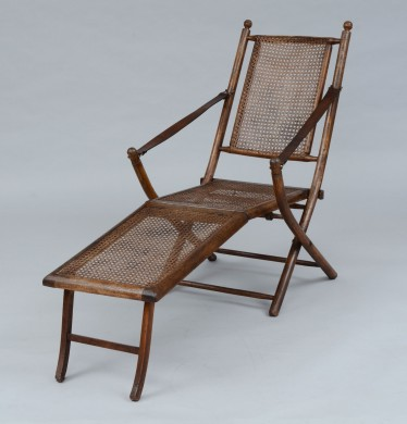 Antique Oak Caned Deck Chair, 1920's