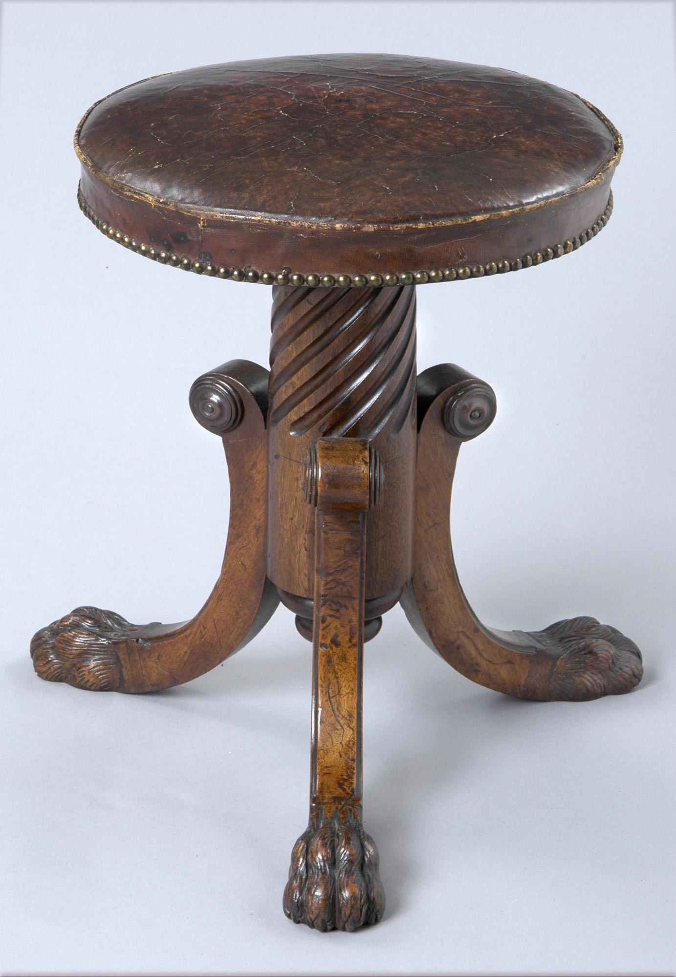 English Regency Revolving Antique Piano Stool Mahogany