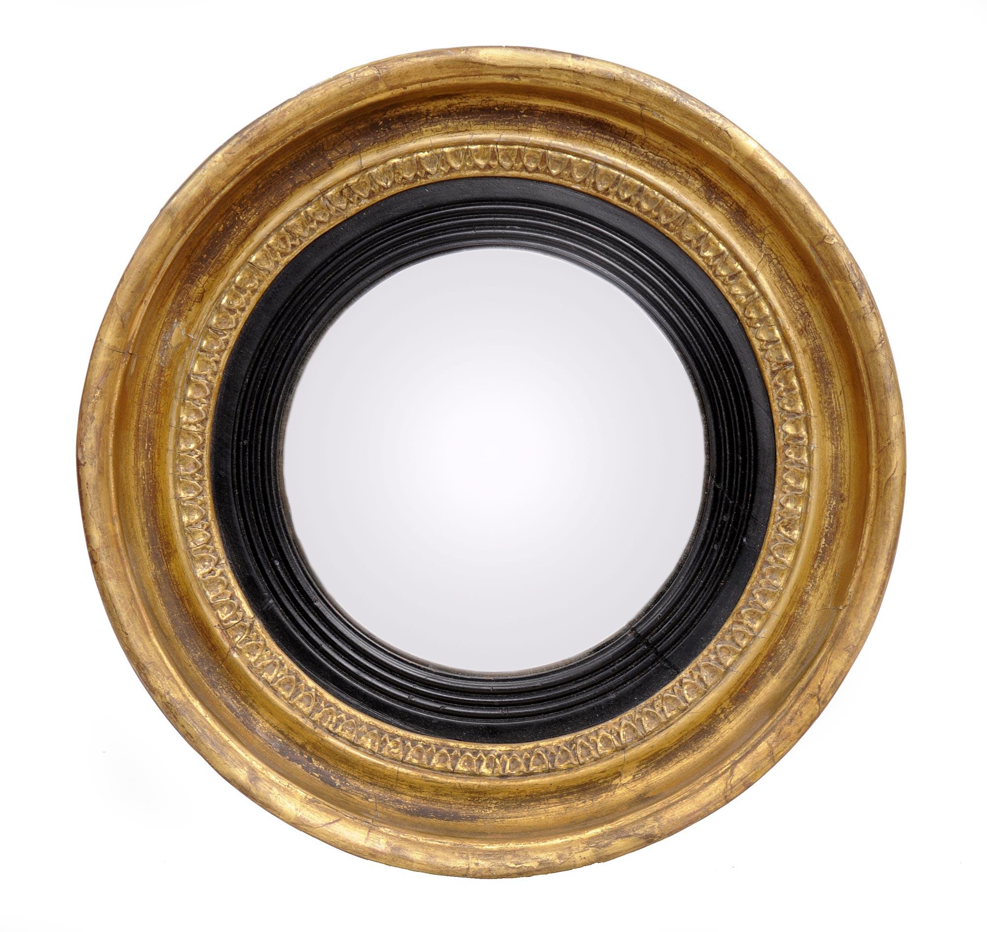 English Regency Convex Mirror Small Antique Mirror