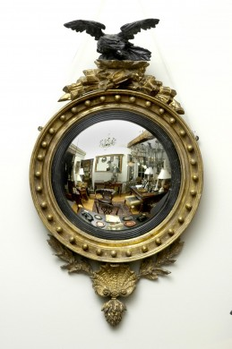 English Antique Regency Convex Mirror with Eagle