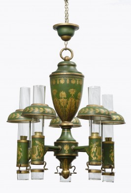 French Antique Tole Peinte Chandelier