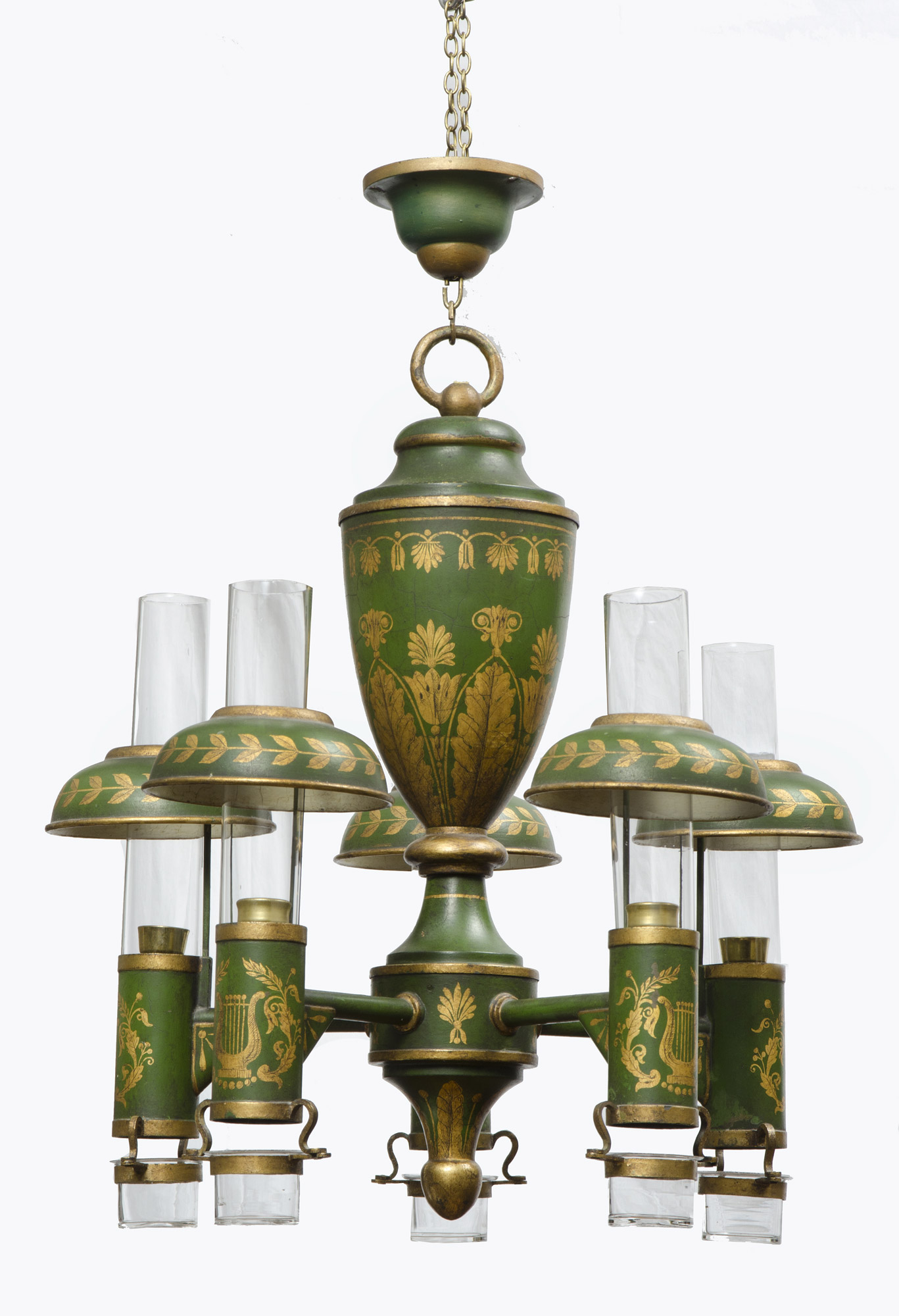 French Antique Tole Peinte Chandelier