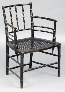 English Antique Regency Ebonized Faux-Bamboo Armchair, Circa 1825