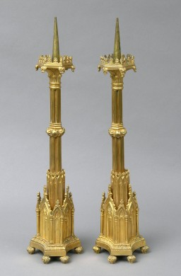 Pair English Antique Bronze Gothic Revival Candlesticks