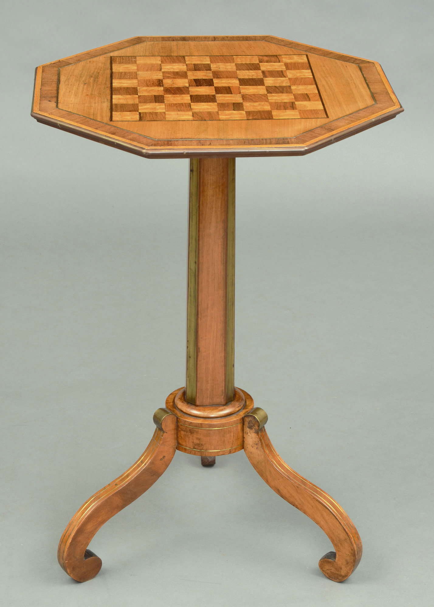 ... Antique English Regency Brass Inlaid Pedestal Games Table ...