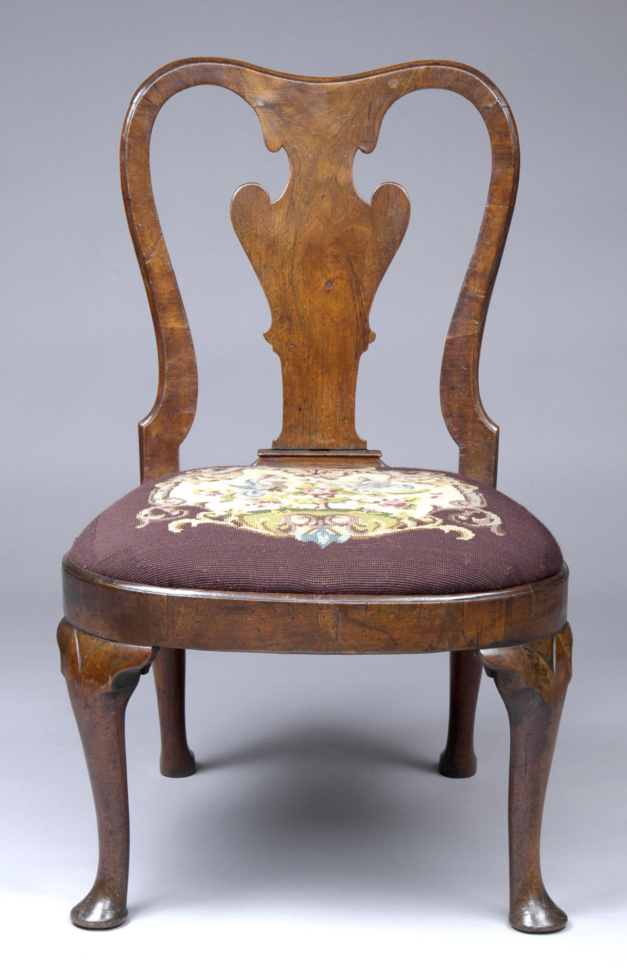 English Walnut Antique Side Chairs   Queen Anne Walnut ...