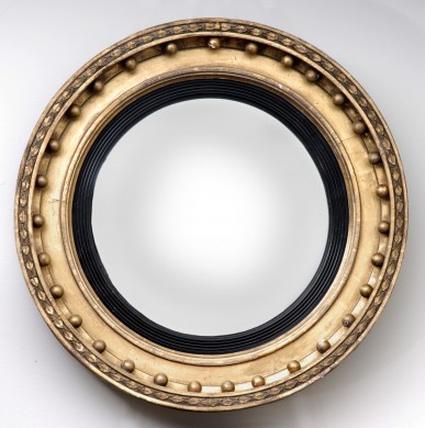 English Antique Regency Convex Mirror