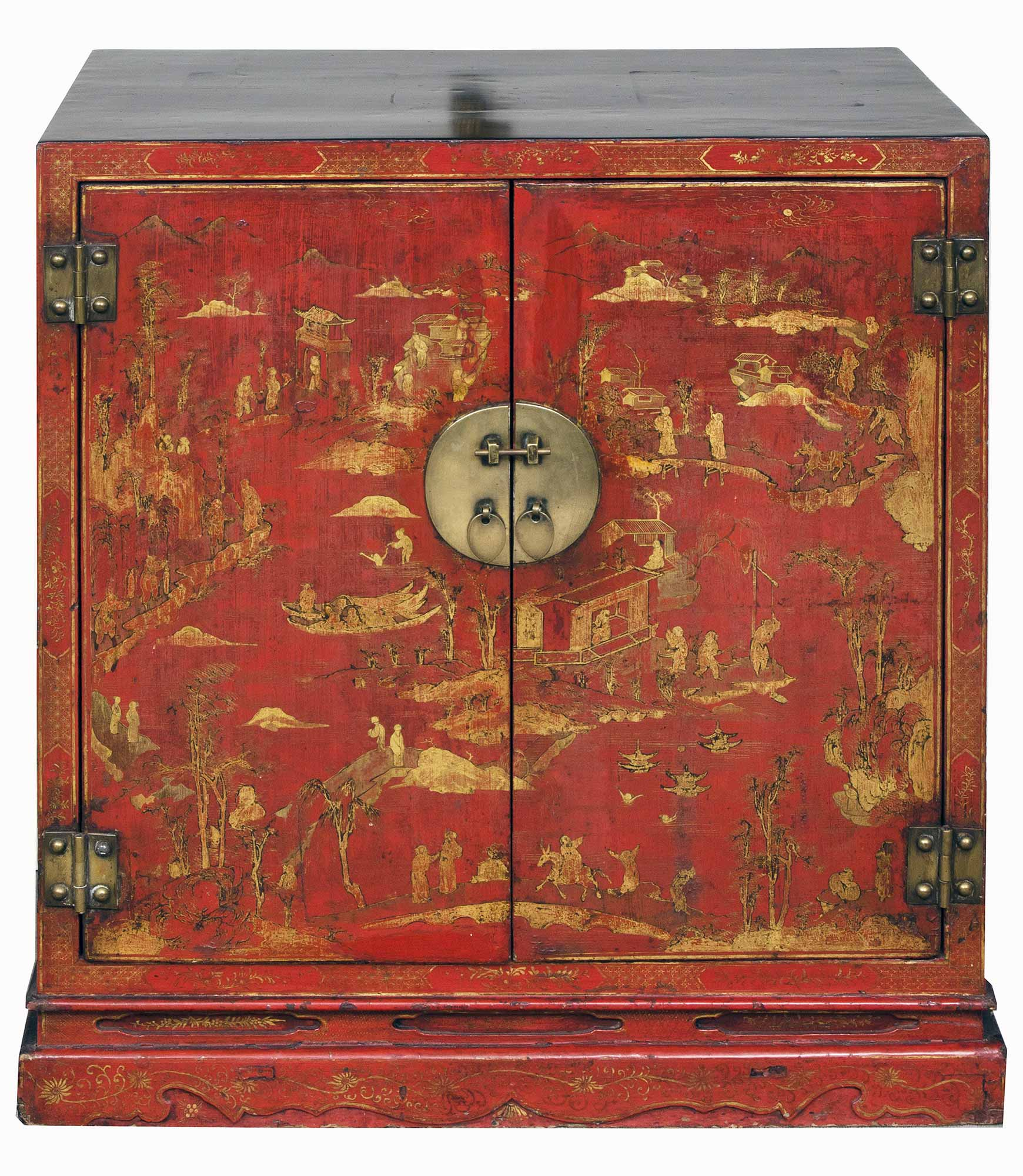 Chinese period red lacquered gilded cabinet for Chinese antique furniture singapore