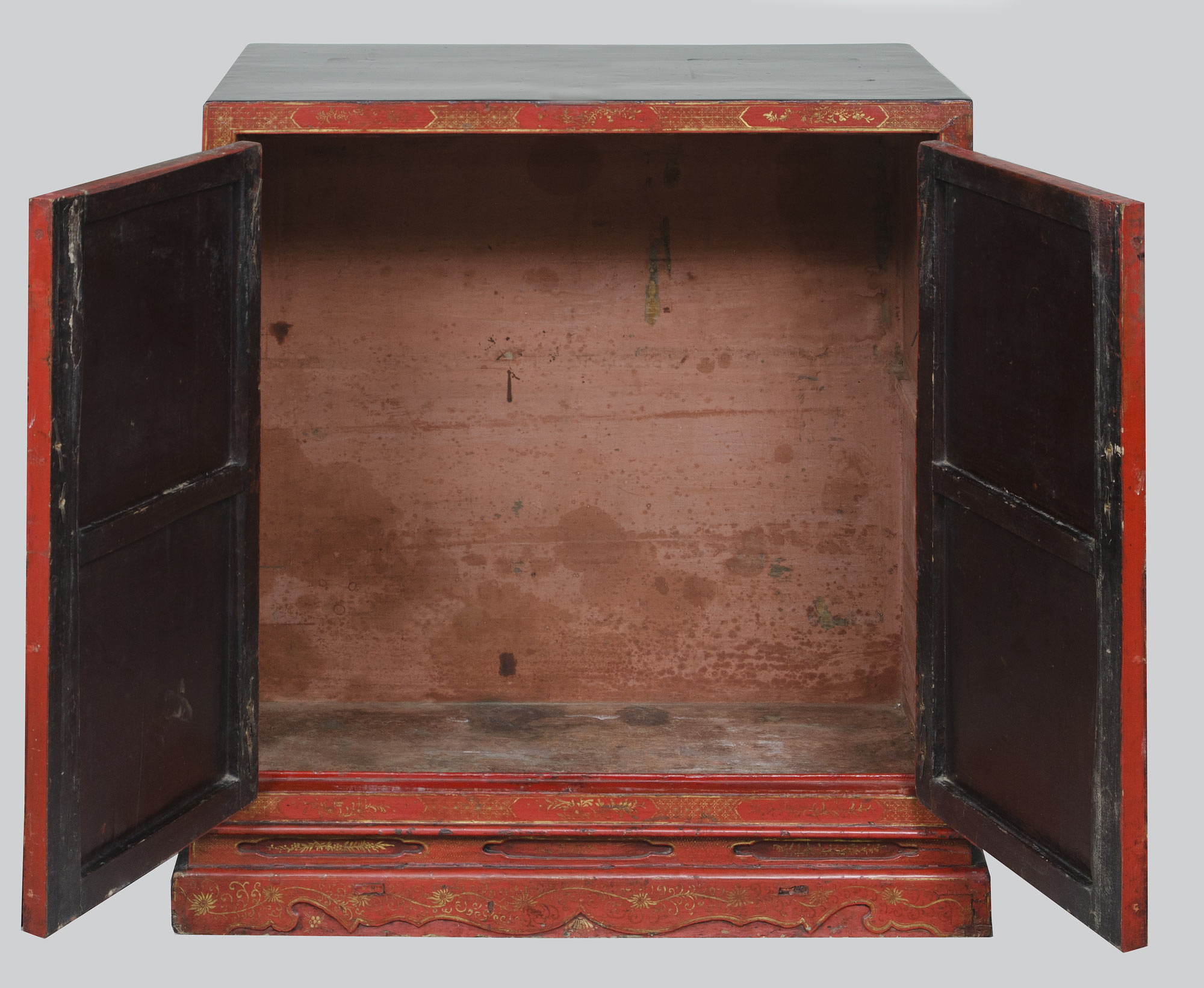 Chinese Period Red Lacquered Amp Gilded Cabinet