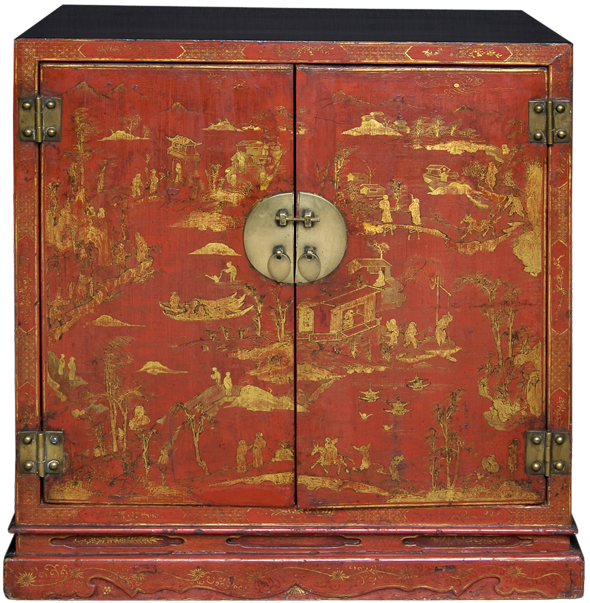 Period Chinese Red Lacquered & Gilded Cabinet, 18th Century