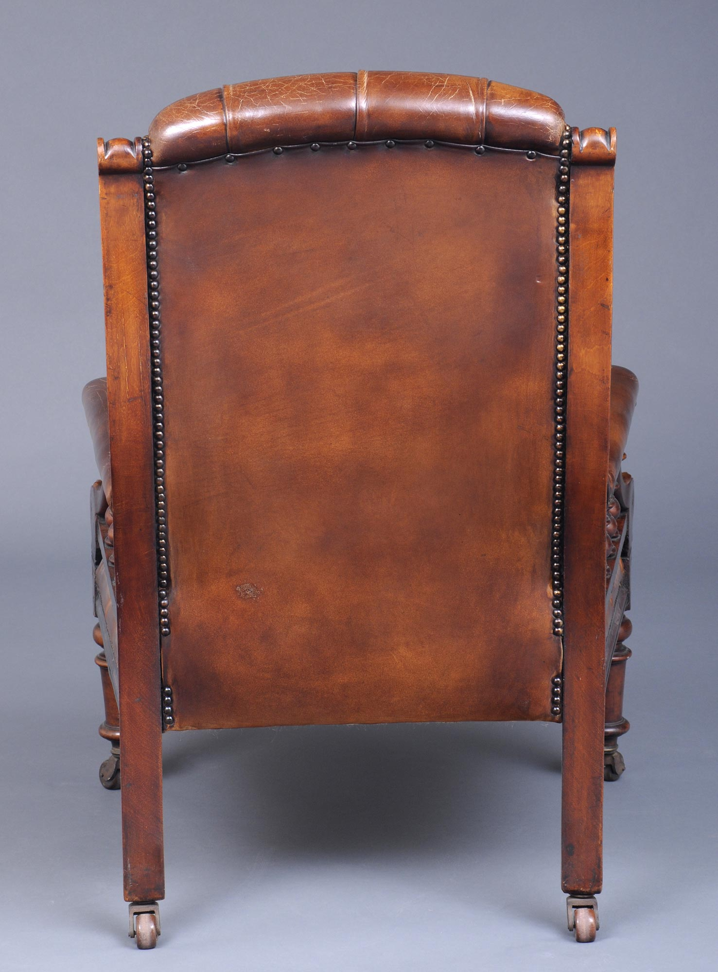 ... English Antique Victorian Mahogany and Leather Library Armchair, Circa  1860 - Antique Library Chairs Antique English Mahogany Library Armchair