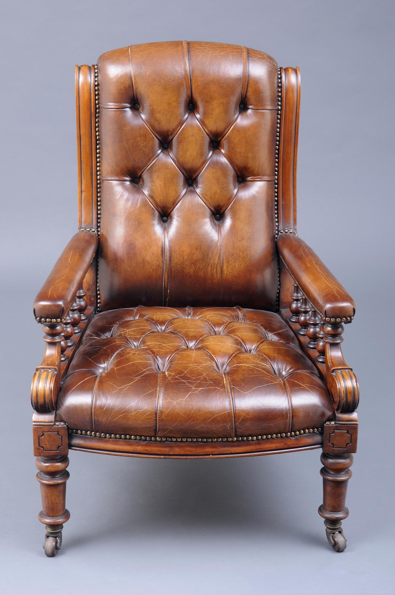 Antique victorian armchair -  English Antique Victorian Mahogany And Leather Library Armchair