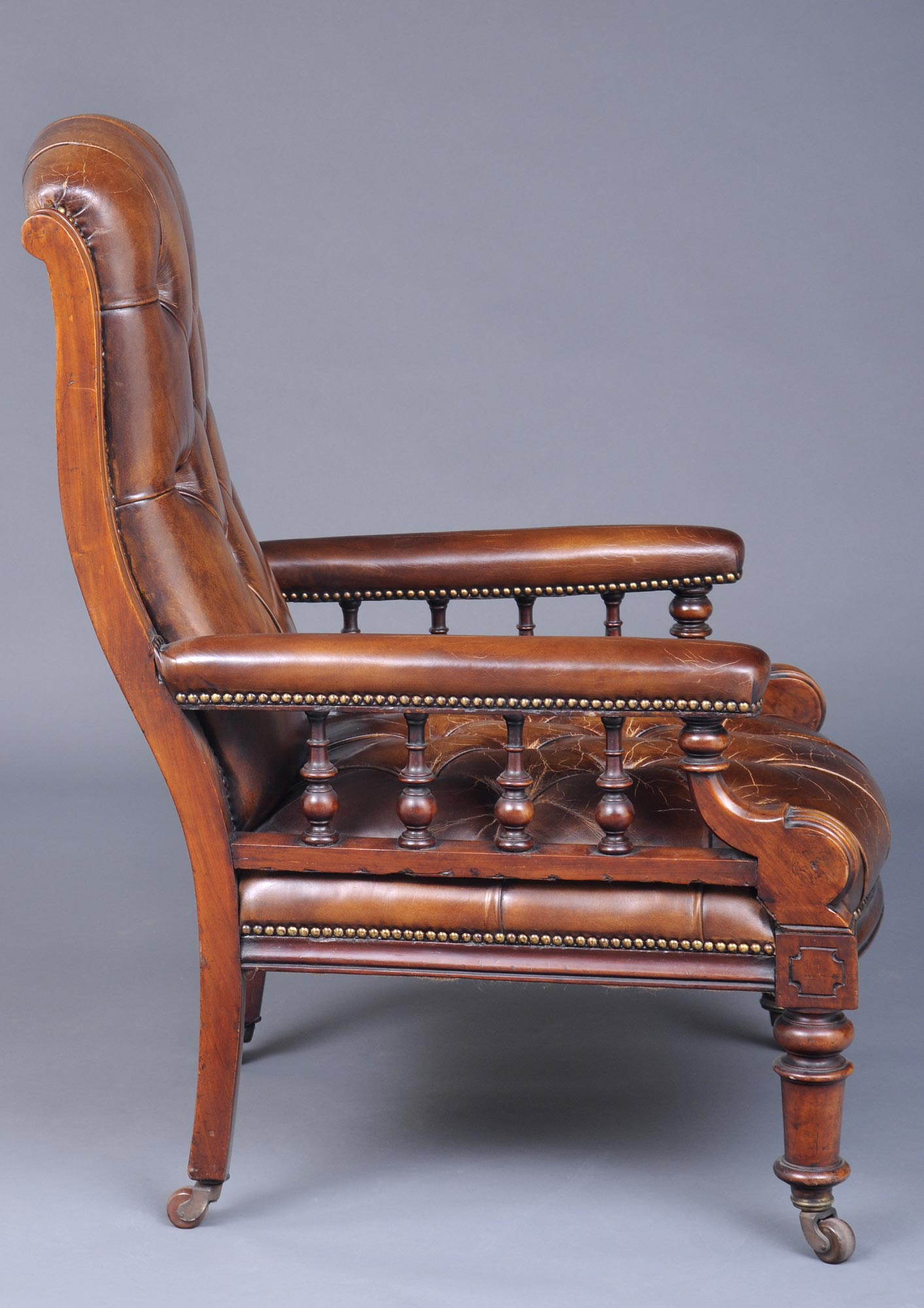 ... English Antique Victorian Mahogany and Leather Library Armchair, ... - Antique Library Chairs Antique English Mahogany Library Armchair