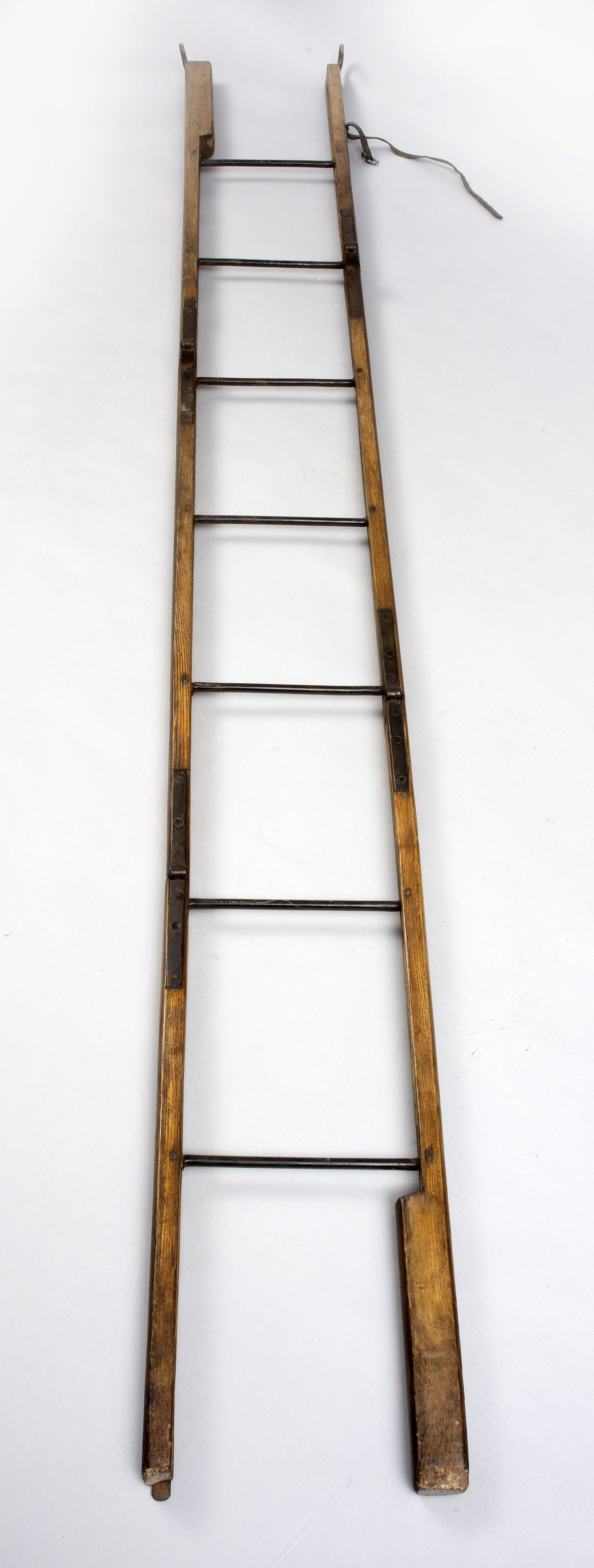 Georgian Ash And Iron Hinged Folding Ladder Antique Ladders