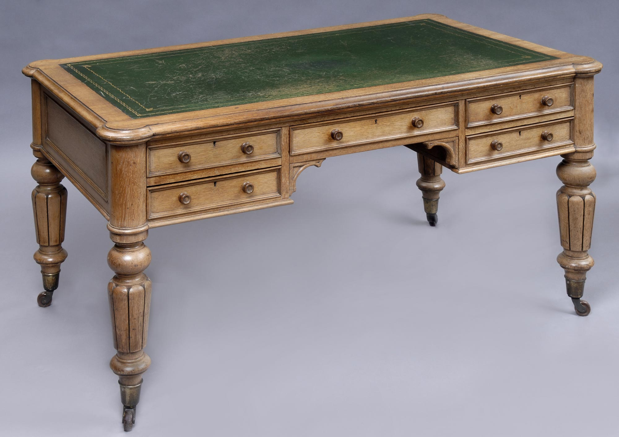 English Antique Victorian Partners Desk