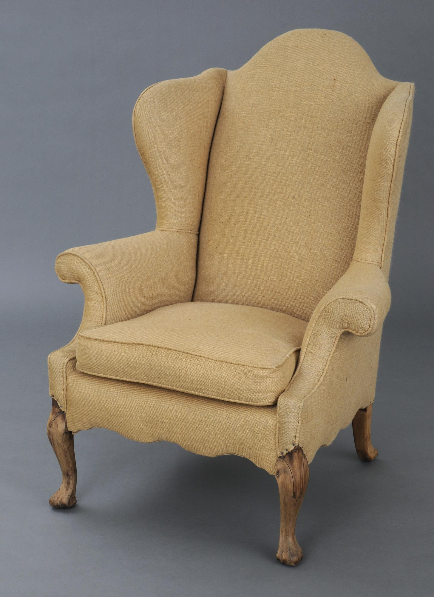 English Antique Georgian Walnut Wing Chair, Circa 1830