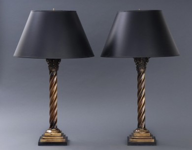 Antique English Pair of Brass Column Lamps