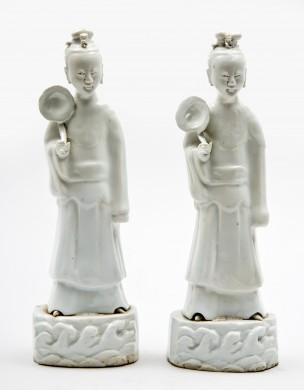Pair Blanc de Chine Female Figures