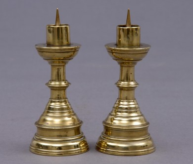 Pair Miniature French Brass Candlesticks, Circa 1800