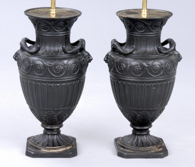 Pair English Antique Adam Style Lamps