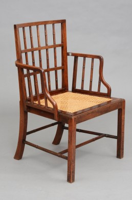 English Antique Rare Georgian Faux Bamboo Armchair, 18th Century