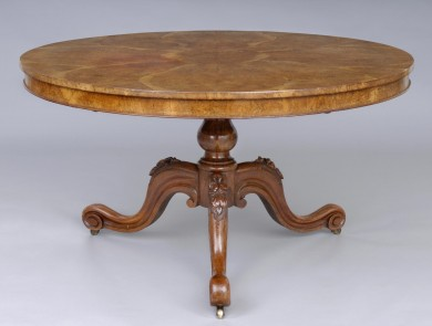 Antique English Very Unusual Pollard Oak Center Table, Circa 1845