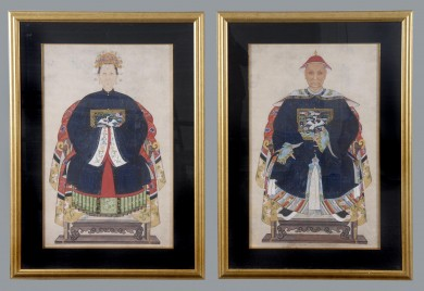 Pair Chinese Ancestor Portraits