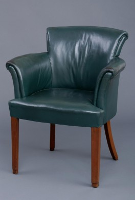 English Antique Art Deco Mahogany & Leather Desk Chair, Circa 1920