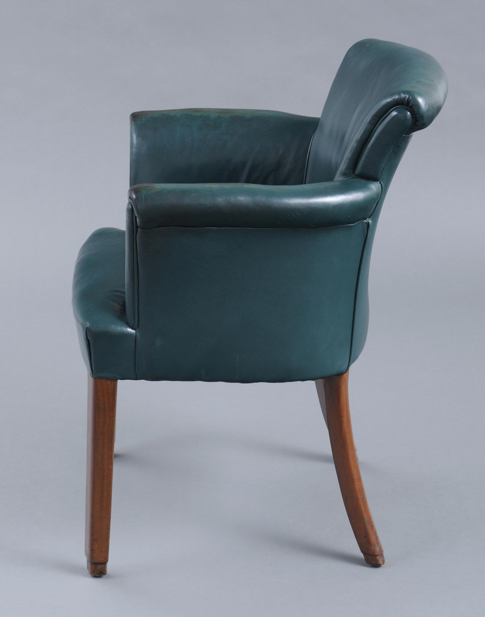 English Antique Art Deco Gany Leather Desk Chair