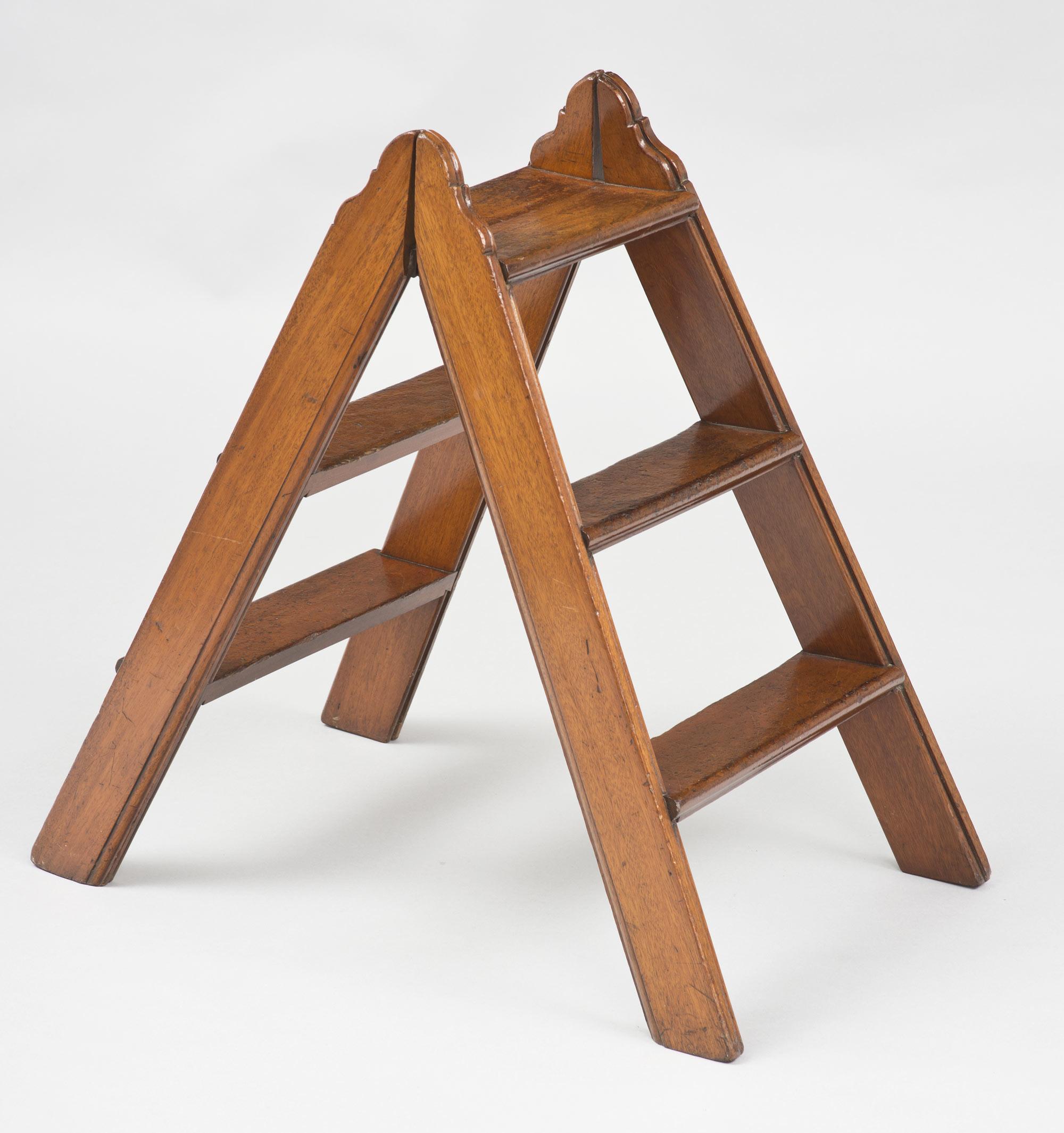 Antique Mahogany Double Sided Folding Step Ladder