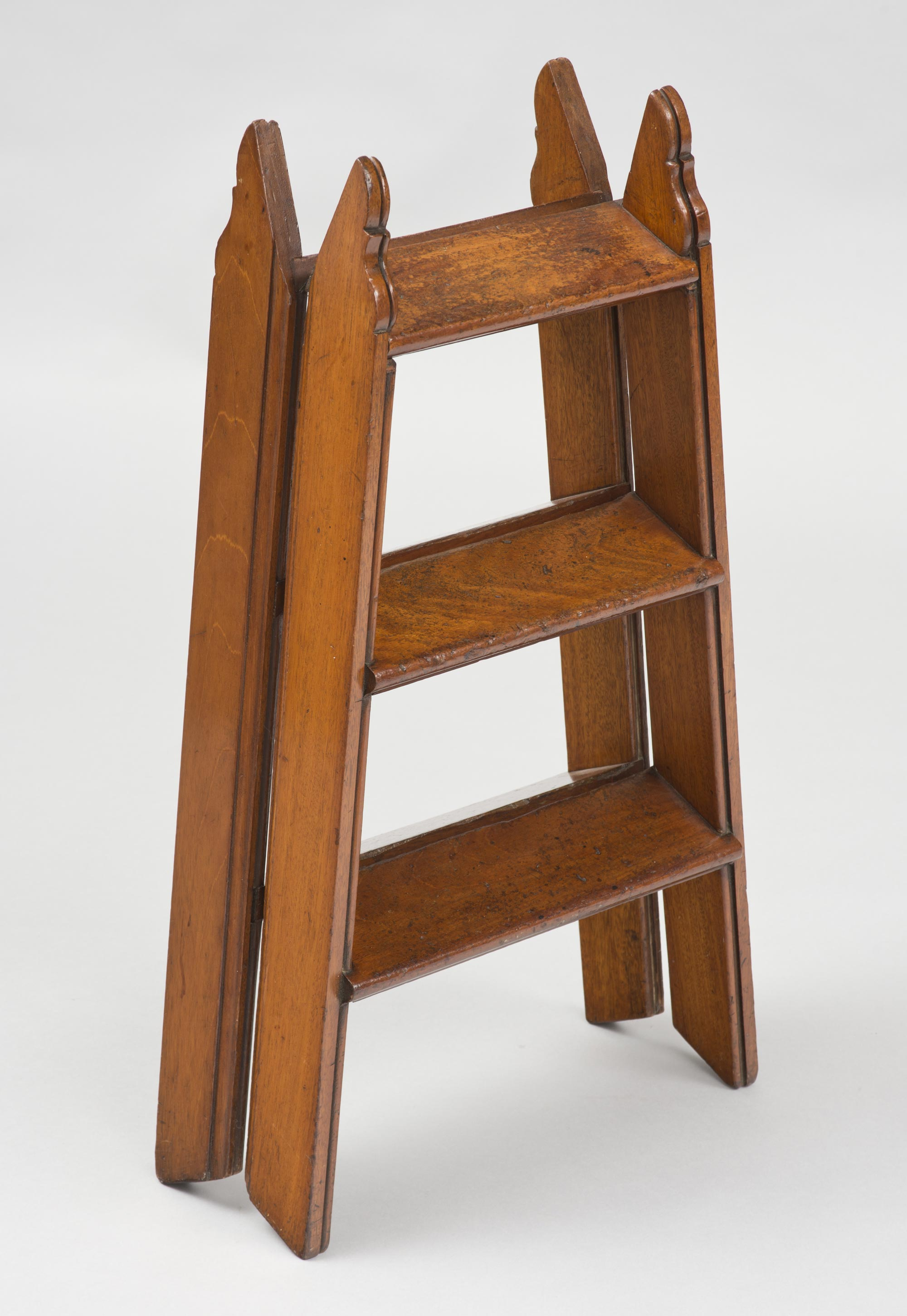 Antique Mahogany Double Sided Folding Step Ladder