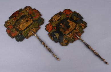 Regency Papier Mache Face Screens, Circa 1820