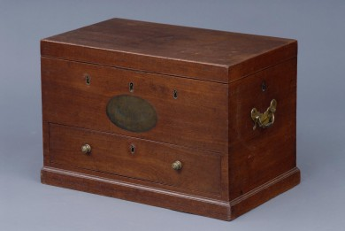 Rare English George IV Mahogany Strong Box With Five Sets of Locks, 1822
