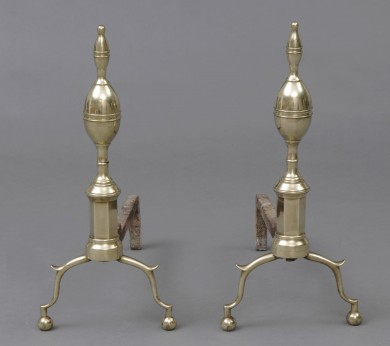 Federal Brass Lemon Top Andirons