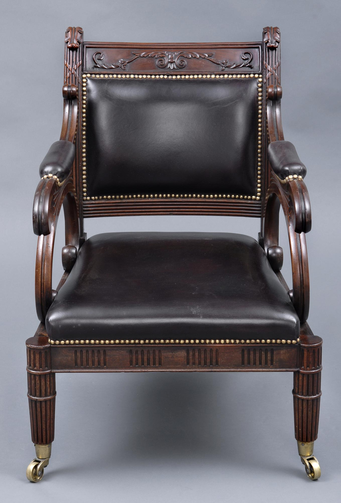 Antique Library Chairs English Regency Mahogany
