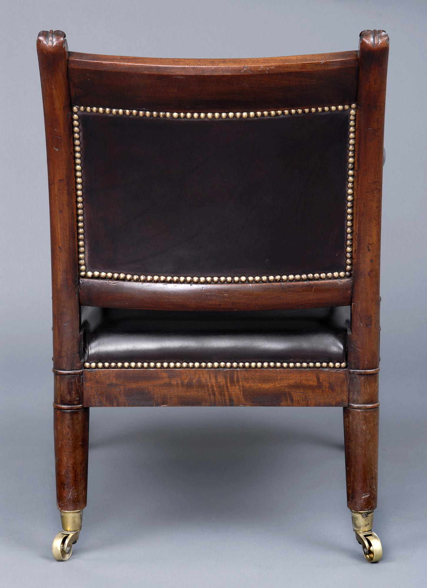English Antique Period Regency Mahogany Leather Library Armchair Circa 1820