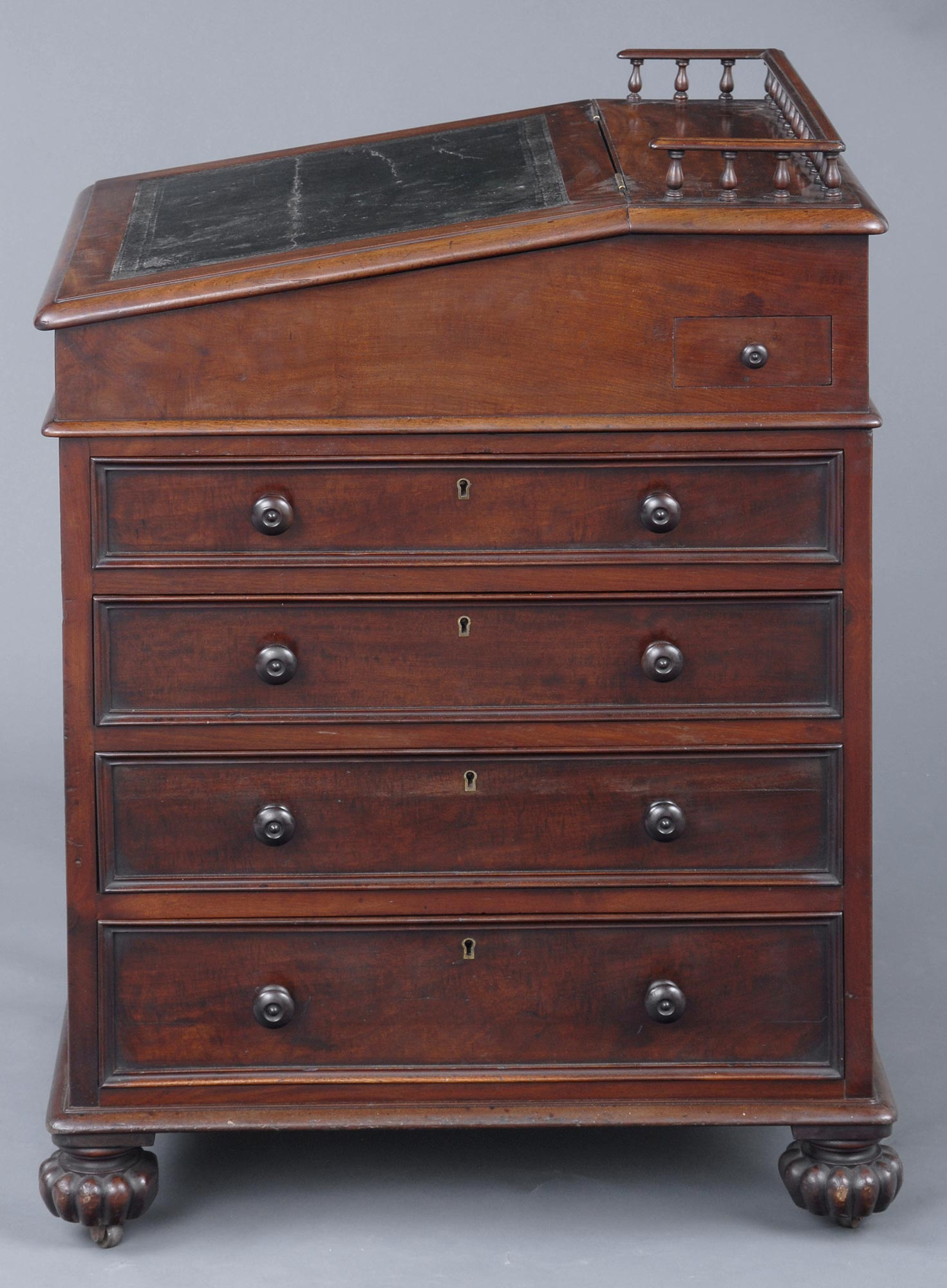 English Late Regency Davenport Antique Mahogany Desk
