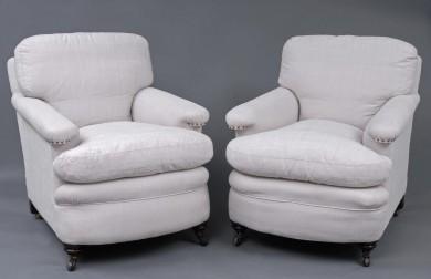 Pair English Antique Victorian Club Chairs