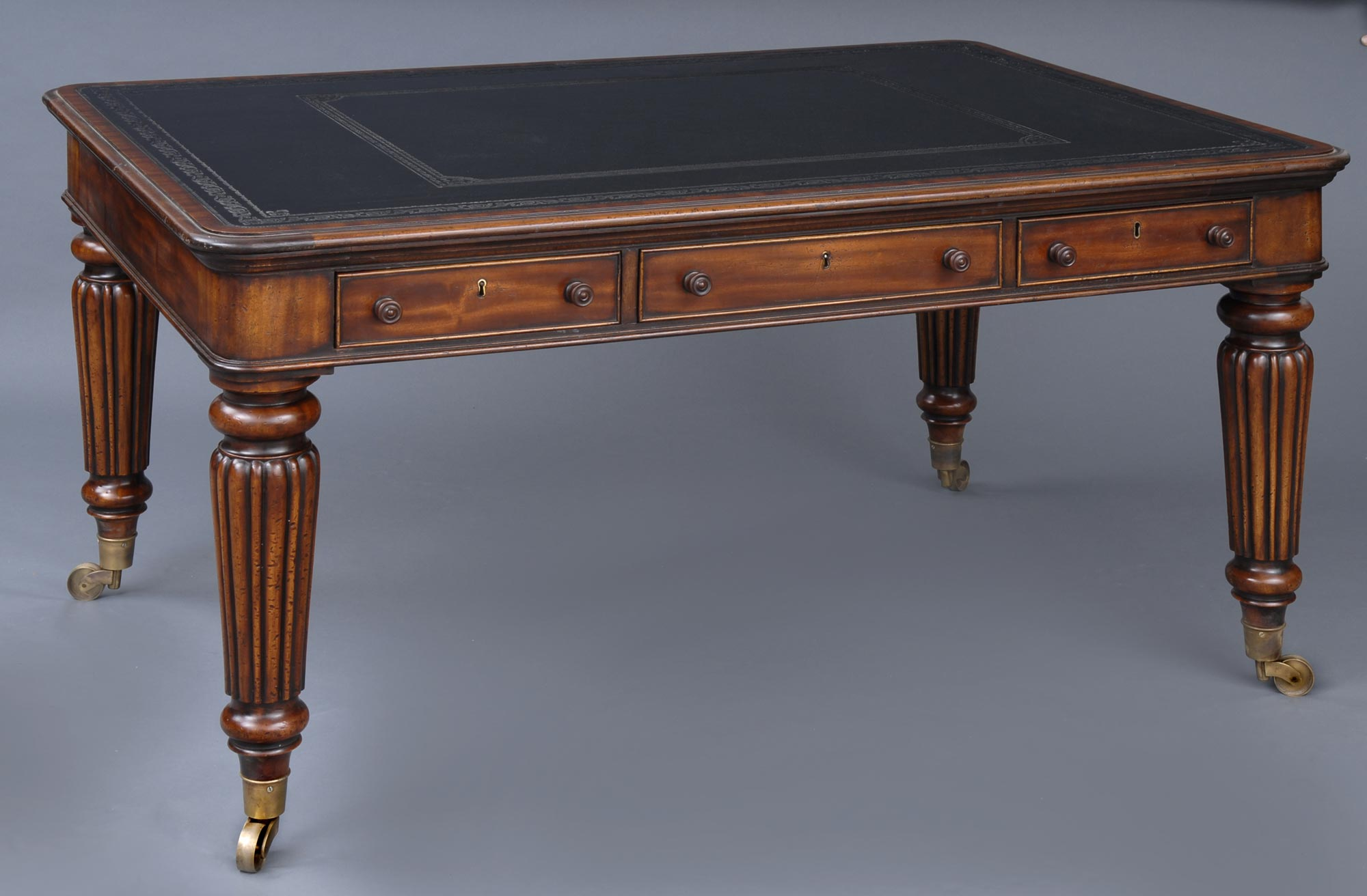 Amazing English Antique Victorian Partners Writing Table