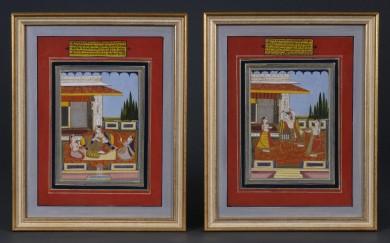 Pair Indian Miniature Raga Paintings