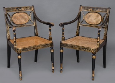 Pair English Chinoiserie Black Lacquered & Gilded Caned Armchairs, Circa 1870
