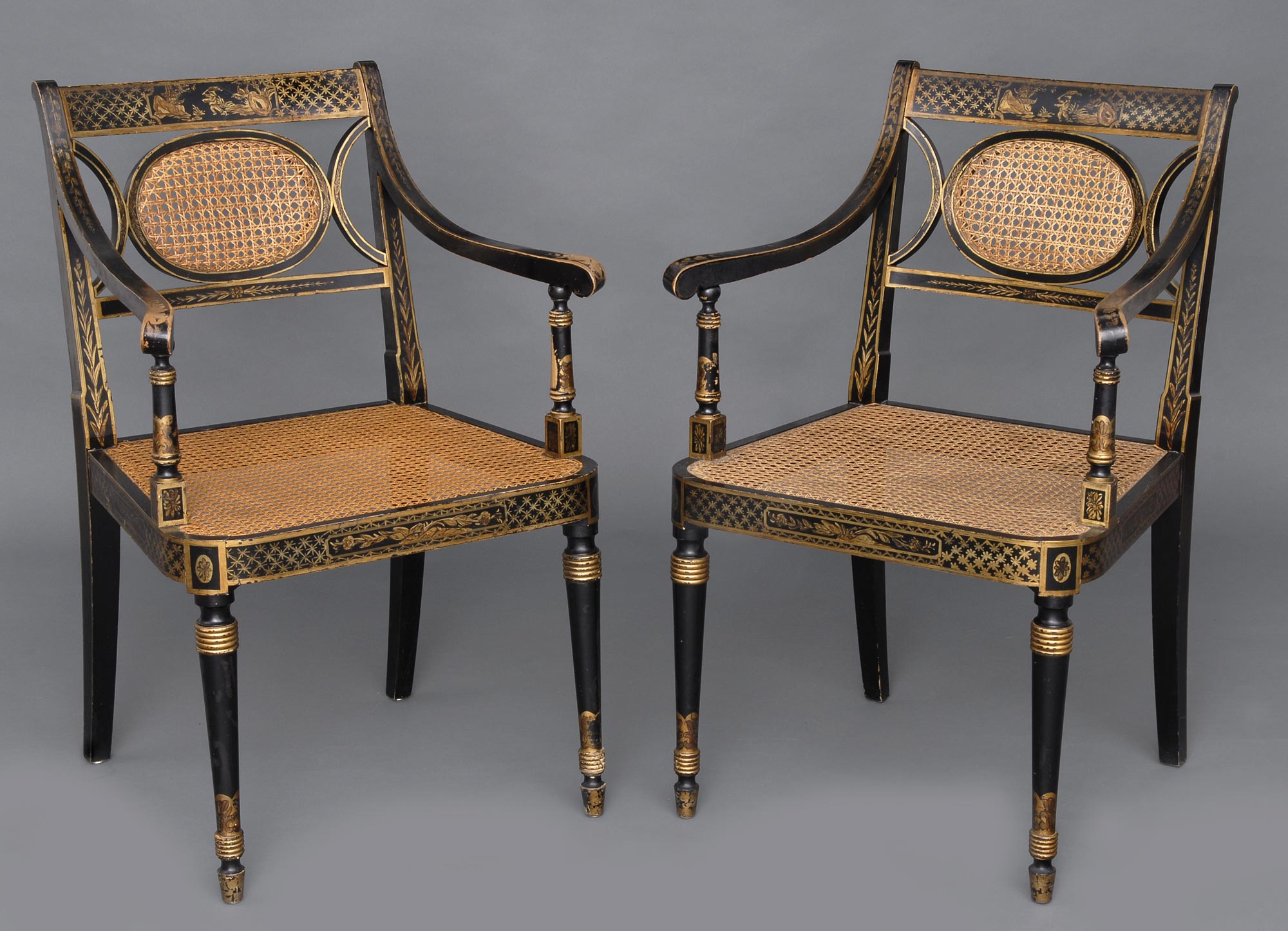 Pair English Chinoiserie Black Lacquered Gilded Caned Armchairs Circa 1870