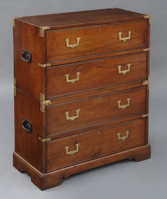 Rare Small Anglo Indian Brass Bound Teak Campaign Chest, Circa 1830