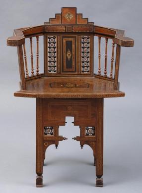 Moorish Antique Walnut Inlaid Armchair, Circa 1880