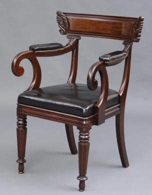 English William IV Mahogany & Leather Library Desk Open Armchair, Circa 1835