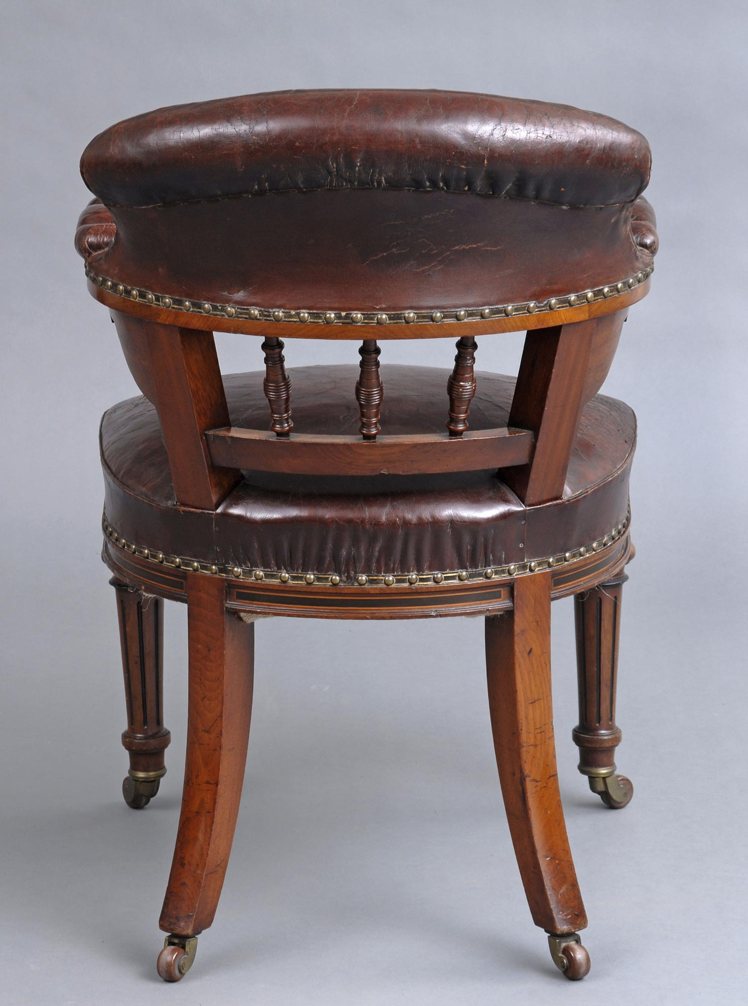 Antique chair casters -  Circa English Antique Victorian Oak Leather Desk Chair By Marsh Jones Cribb