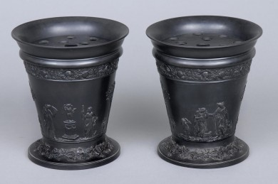 Pair Wedgwood Basalt Bough Pots